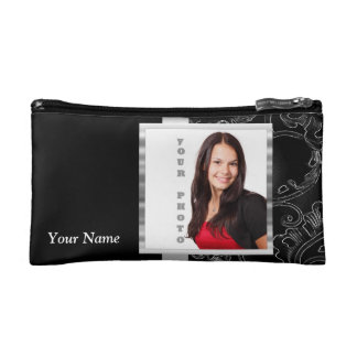 Black baroque instagram template cosmetic bag
