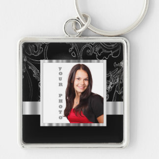 Black baroque instagram template keychain