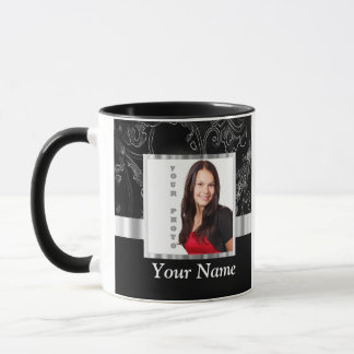 Black baroque instagram template mug