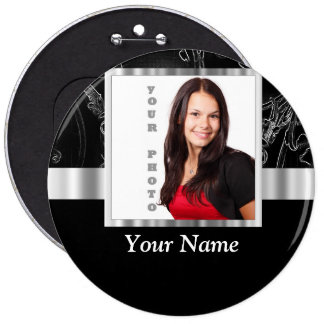 Black baroque instagram template pinback button