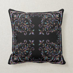 Black Baroque Throw Pillow