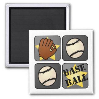 Black Baseball 2 Inch Square Magnet