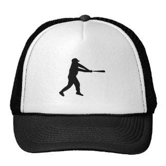 Black Baseball Batter Silhouette Trucker Hats