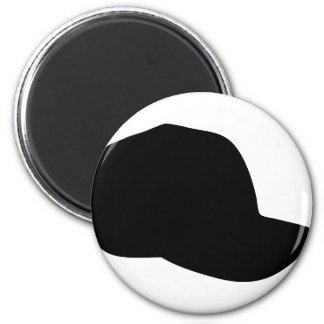 black baseball cap icon 2 inch round magnet