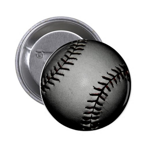 Black baseball pinback button