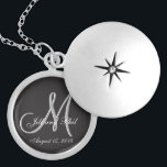 """Black Basic Wedding Monogram Locket Necklace<br><div class=""""desc"""">Basic Black 3d Monogram. Check out this 3d Monogram Basic Black design.Gothic black look for your wedding party. Monograms,  text and bride and groom names are easy to change to suit your needs. All artwork and images ©nuptial.</div>"""
