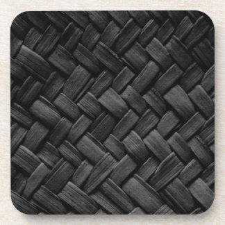black basket weave pattern drink coaster