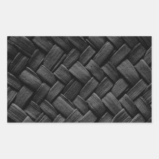 black basket weave pattern rectangular sticker