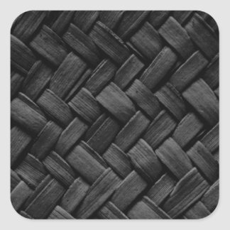 black basket weave pattern square sticker
