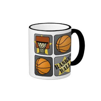 Black Basketball Ringer Coffee Mug