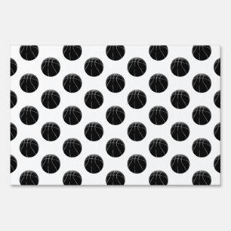 Black Basketball Pattern Lawn Sign