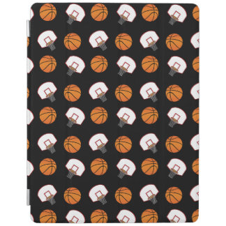 Black basketballs and nets pattern iPad cover