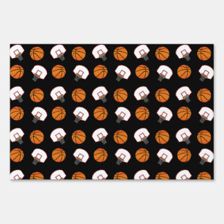 Black basketballs and nets pattern lawn sign