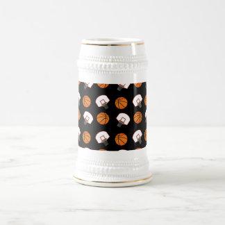 Black basketballs and nets pattern 18 oz beer stein