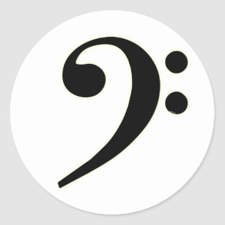 Black Bass Clef Classic Round Sticker