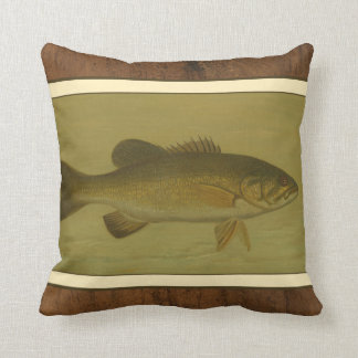 Black Bass on a Green Background Throw Pillow