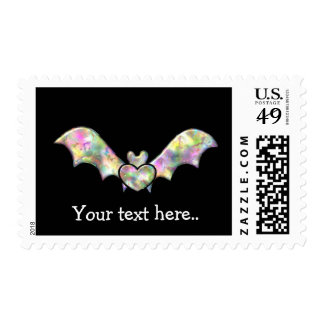 Black Bat and Heart Personalized Halloween Bat Postage