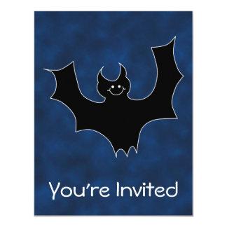 Black Bat Cartoon, in Night Sky. 4.25x5.5 Paper Invitation Card