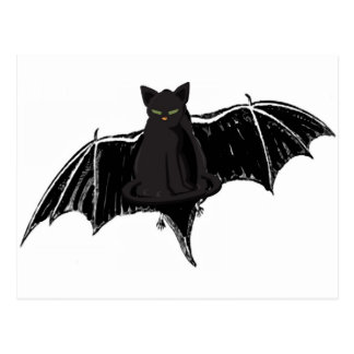 BLACK BAT CAT WITH GREEN EYES POSTCARD