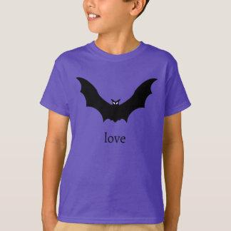 Black Bat Love T-Shirt in Purple
