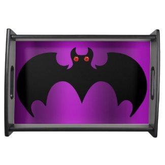 Black Bat on Purple Halloween Serving Tray