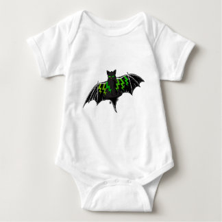 BLACK BAT WITH GREEN LIGHTNING ON WINGS BABY BODYSUIT