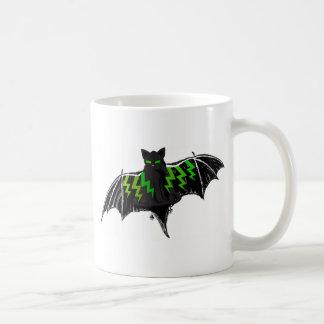 BLACK BAT WITH GREEN LIGHTNING ON WINGS COFFEE MUG