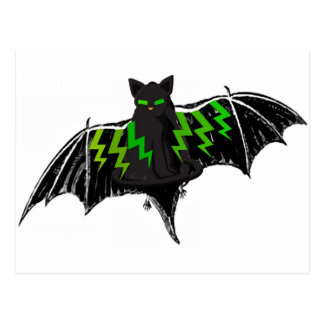 BLACK BAT WITH GREEN LIGHTNING ON WINGS POSTCARD