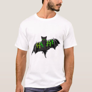 BLACK BAT WITH GREEN LIGHTNING ON WINGS T-Shirt