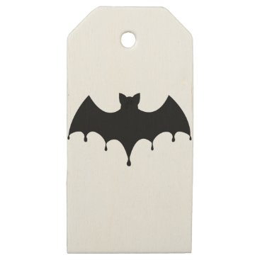 Halloween Themed Black Bat Wooden Gift Tags