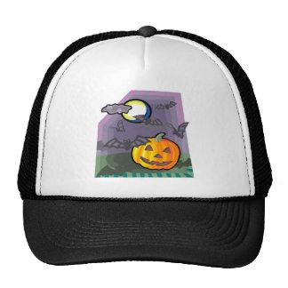 Black Bats and Jack o lantern Mesh Hat