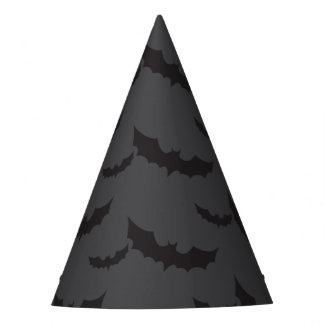 Black bats on dark grey background Halloween Party Hat