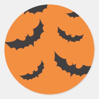 Black bats on orange background Halloween Classic Round Sticker