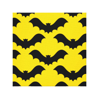 Black Bats Over Yellow Canvas Print