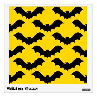 Black Bats Over Yellow Wall Sticker
