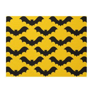 Black Bats Over Yellow Wood Wall Art