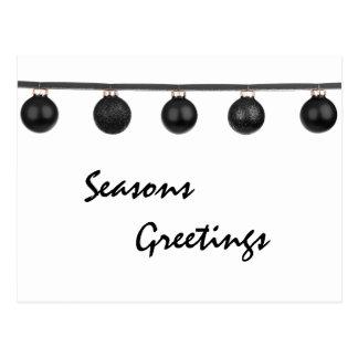 Black Baubles on Ribbon Christmas Postcard