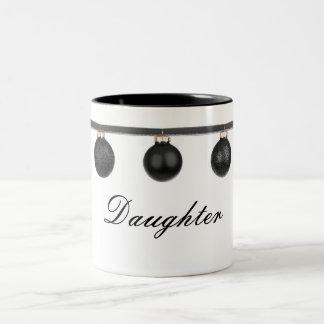 Black Baubles on Ribbon Daughter Christmas Mug