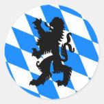 Black Bavarian Lion Classic Round Sticker
