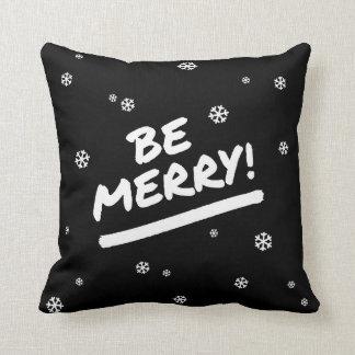 Black Be Merry Marker Pen Christmas Snowflake Throw Pillow