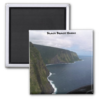 Black Beach Hawaii 2 Inch Square Magnet