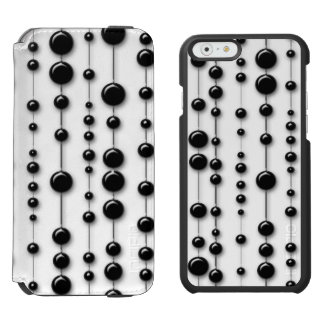 Black Beaded Strands 60s Mod Modern Contemporary iPhone 6/6s Wallet Case