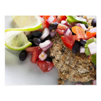 Black Bean Salsa Veggie Burger Postcard