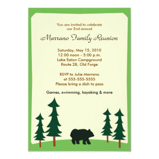 BLACK BEAR Adirondack Lodge 5x7 Party Invitation
