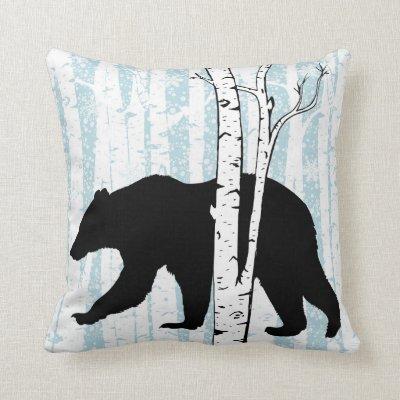 Black Bear and Deer Birch Forest Throw Pillow