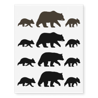 Black Bear and Grizzly Bear Silhouettes Temporary Tattoos