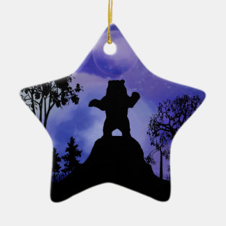 Black bear and the moon ceramic ornament
