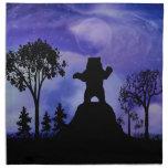 Black bear and the moon cloth napkin