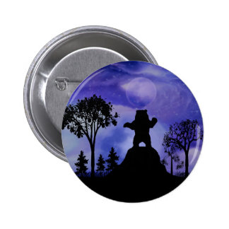 Black bear and the moon pinback button