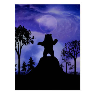 Black bear and the moon postcard